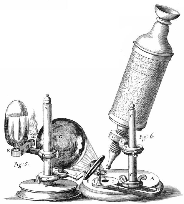 "State of the art, more than three hundred years ago; Hooke's microscope from his ""Micrographia""."