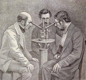 """Time to scrutinise science itself? """"Microscopio de tres cuerpos para las observaciones simultáneas"""" from """"El mundo físico : gravedad, gravitación, luz, calor, electricidad, magnetismo, etc."""" (A. Guillemin. - Barcelona Montaner y Simón, 1882) via flickr user fdctsevilla"""